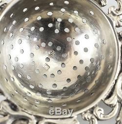 Dutch. 800 Siver Tea Strainer & Base, c1900 Ox Boat Windmill Woman with Buckets