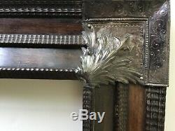 Dutch Antique Wooden Picture Frame with metal (silver) overlays on corners