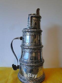 Dutch East Indies Colonial Large Jug C-1800 Sterling Silver Cast Applied Panels