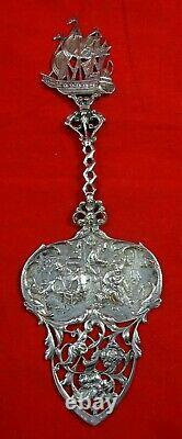 Dutch Holland 830 Silver Pastry Server With Ship & Village Life Scene (#4531)