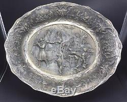 Dutch Holland Antique 835 Silver Scenic Saloon Drinking Dancing Large Tray 50toz