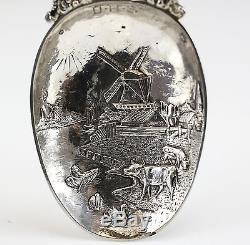 Dutch Import Silver Figural Serving Spoon 1886, Stork Various Animals & Windmill