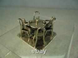 Dutch Novelty Solid Silver Miniature Table Four Chairs & Two Men, 1917