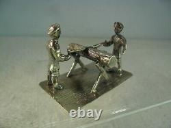 Dutch Novelty Solid Silver Miniature Two Men Sawing a Log