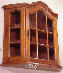 Dutch Old Wall Hanging Glass Curio Display silver gold oak baroc Wooden Cabinet