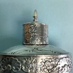 Dutch Silver Footed Covered Container 3 5/8