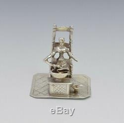 Dutch Silver Miniature Figure Seated Woman Girl Cooking c. 1890 2 Antique