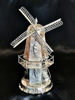 Dutch Silver Miniature Windmill with Figures & Stairs Working Blades