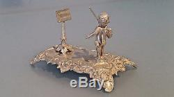 Dutch Silver miniature figure of orchestra conductor cherub & music stand C1900