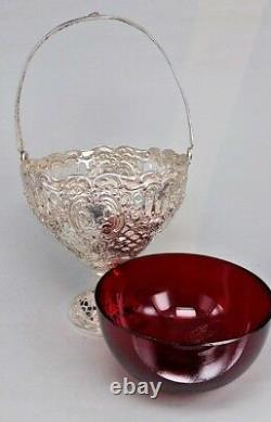 Dutch Solid silver cherub basket with handle & red glass liner circa 1900