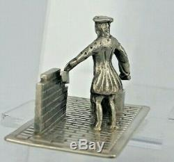 Dutch Solid silver miniature figure of a bricklayer full hallmarks