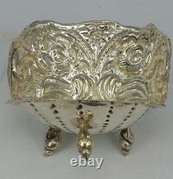 Dutch Solid silver shell candle holder with silver reflector on periwinkle feet