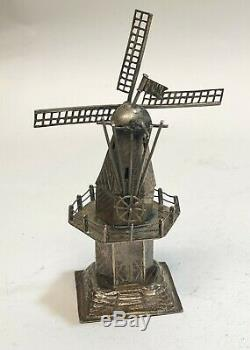 Dutch Sterling Silver Windmill Spice Twoer with Figure, circa 1910