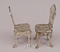 Dutch hanau miniature pair of silver chairs by Berthold Muller Chester 1906