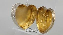 Dutch solid silver heart shaped pill box gold washed interior children playing