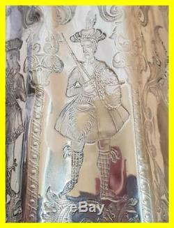 Early 18th C Silver Dutch Tea Caddy, Profusely Engraved, Military Figures/ladies