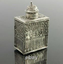 Early 18th Century Dutch Chinoiserie Silver Tea Caddy, Unknown Mark, c1720