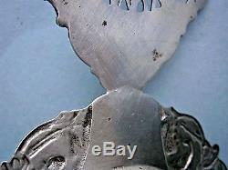 Early. 833 Silver Dutch Tea Strainer decorated with Ship and Crown, hallmarked
