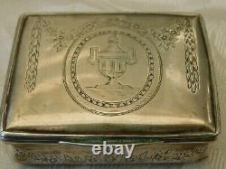 Early Antique 1787 Dated Decorated Dutch Export Large Silver + Gilded Snuff Box