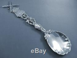 Figural Dutch 833 Silver Windmill Serving Spoon-1929 9 1/4 With Serpents&birds