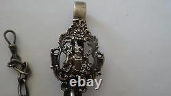 Fine Antique Dutch Ornate Silver Chatelain Pocket Watch Chain With Key
