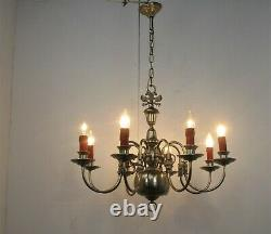 Flemish Dutch Chandelier 8 Arm Lights Eagles Barn Country Brass Silver Colored