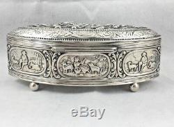 Footed Dutch 835 Sterling Silver Figural Hinged Box 5 1/2 x 2 3/4 x 2