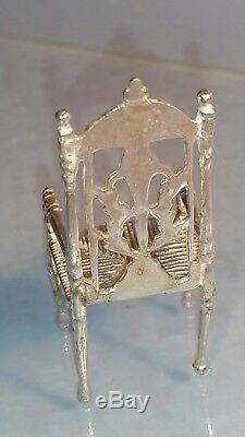 Four Dutch miniature solid silver high backed chairs dolls house or collector