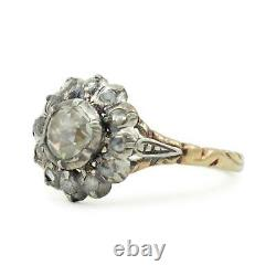 Gold and Silver Dutch Rose Cut Diamond Ring