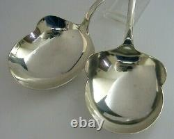 HEAVY 134g DUTCH SOLID SILVER ARTS & CRAFTS SERVING SPOONS 1927 & 1935 ANTIQUE