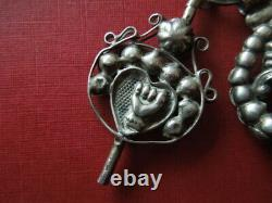 J2819 Antique Dutch Solid Silver Pocket Watch Chain Scarce Type See