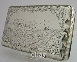 LARGE SOLID SILVER TABLE TOBACCO CIGAR BOX 1929 STRATFORD HOSPITAL ANTIQUE 148g