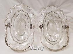 Large Pair Antique Dutch Silver & Glass Cake Sweet Meat Baskets Bowls