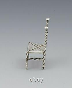 Late 19th Century Dutch Silver Miniature Chair Import Marks 1893 Antique