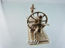 MINIATURE DUTCH. 835 SILVER ROPE MAKERS FIGURE BY PH as is