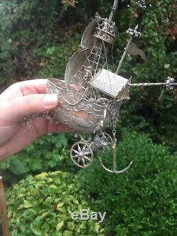 Magnifecent 19th Century Large Solid Silver Dutch Nef Warship On Wheels