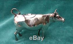 Magnificent 934 Silver Dutch Cow Creamer With Ruby Eyes Very Rare