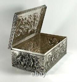 Magnificent Large Solid Silver Sterling Cigar Box 778g Dutch Netherlands 1929