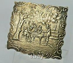 Miniature silver dutch table with tavern scene fully hallmarked