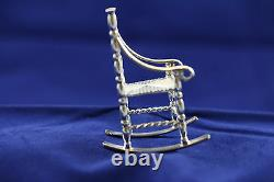 NICE VINTAGE DUTCH. 833 SILVER MINIATURE DOLL HOUSE ROCKING CHAIR with RUSH SEAT