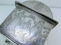 Old Dutch Silver Marriage Box Casket 17th century style with engraved scenes