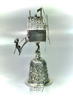 Ornate Antique Dutch 833 Silver Figural Bell Miniature Windmill Marked 129 Grams