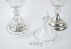 Pair Antique Dutch Silver Crystal Covered Compote Jars Sweetmeat Serving Dishes