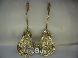 Pair of Cased Dutch Solid Silver Gilt Sifter Spoons, London Import 1890