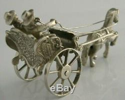 QUALITY DUTCH SOLID SILVER HORSE AND CARRIAGE GIG MINIATURE FIGURE c1950s TOY