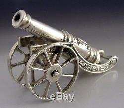 QUALITY SOLID SILVER DUTCH MINIATURE CANNON 1950's MILITARY SUPERB