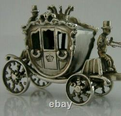 RARE DUTCH SOLID SILVER LARGE MINIATURE HORSES & CARRIAGE c1950's 5 inch 67g