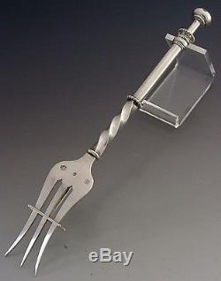 RARE LARGE DUTCH SOLID SILVER MECHANICAL PICKLE FORK 1892 VICTORIAN ANTIQUE 59g