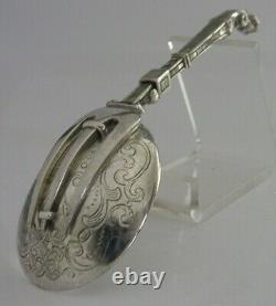 RARE SOLID SILVER FOLDING SPOON & FORK EARLY 20th CENTURY DUTCH