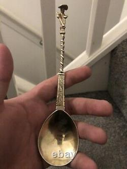 Rare 17th Century Dutch Silver Gilt Apostle Spoon Dated 1647 Museum Quality